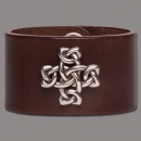 Leather Bracelet Cross Knot brown